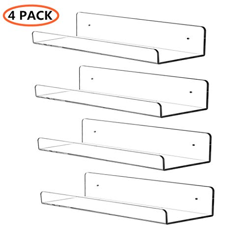 CY Craft 4 PCS Clear Acrylic Floating Shelves Display Ledge, 5 MM Thick Wall Mounted Storage Shelf for Nursery Decor,Invisible Kids Bookshelf and Small Toy Storage,15 Inch
