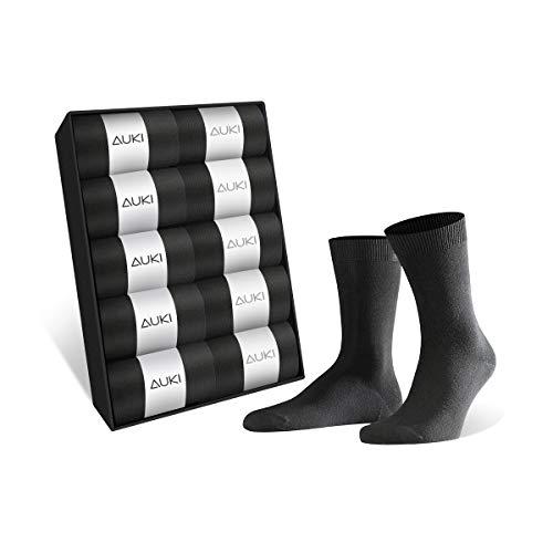 AUKI 靴下 メンズ ビジネス ソックス [吸汗速乾] 抗菌防臭 綿 24-28㎝ 黒 … (10足)