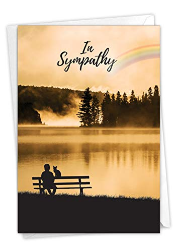 The Best Card Company - Pet Sympathy Card with Envelope - Animal Bereavement, Sorry for Loss - Sympathy Rainbow Cat C7219PSG