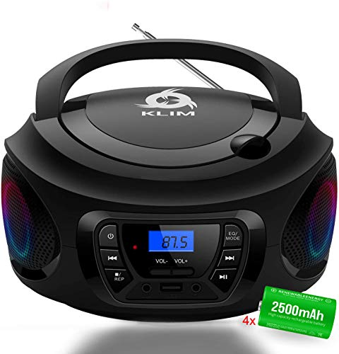 KLIM CD Boombox Portable Audio CD Player, FM Radio, Rechargeable Battery, Bluetooth, MP3 and AUX. Equipped with Super Bass Neodymium Speakers, Upgraded CD Laser Lens [New 2021 Release] - Black
