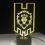 LED World Online Game War 3D craft The Alliance Tribal Signs USB 3D LED Luz de noche Lámpara de...