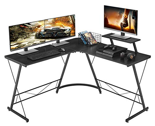 Mr IRONSTONE LShaped Desk 508quot Computer Corner Desk Home Gaming Desk Office Writing Workstation with Large Monitor Stand SpaceSaving Easy to Assemble Black