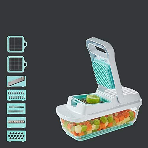 Promworld Schneiden Spätzlereibe,Kartoffelschredder, Gemüseschneidartefakt-Glas weiß blau,Obst und Gemüseschneider Zwiebelschneider
