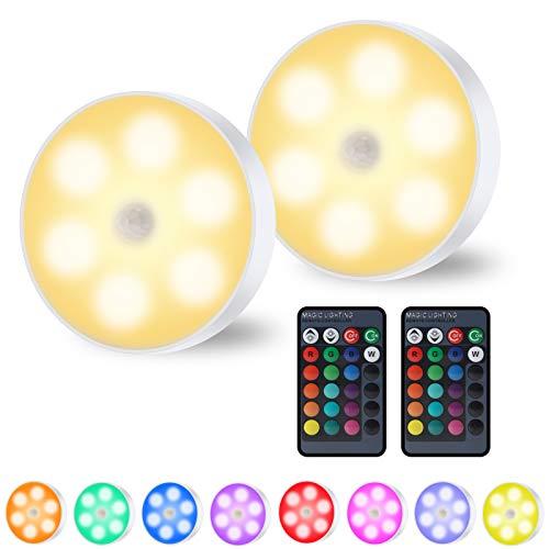 OPPULITE LED Symphony Nachtlicht Wandleuchte/Schrankleuchte/USB-Ladesensor Drahtloses Nachtlicht, intelligent mit Fernbedienung, 4 Lichtmodi und 16 dynamischen Farben (RGB Symphony Nachtlicht x 2