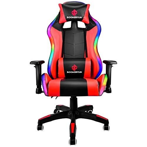 KirinSport Gaming Stuhl Bürostuhl mit Lendenkissen Massage, LED-Licht, ergonomischer Stuhl, verstellbare Armlehne, Rot (mit LED-Licht)