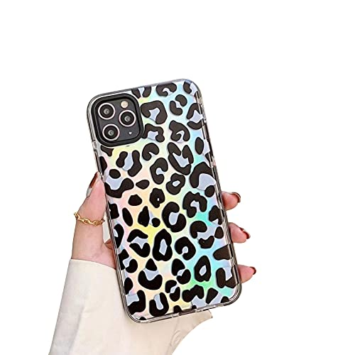 XWCG Funda Compatible con iPhone 12 12 Pro 12 Pro MAX Carcasa Protectora de Silicona Diseño de Leopardo Suave TPU de Silicona Anti Rasguños Back Cover,Negro,11