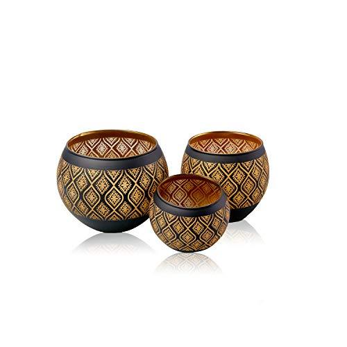 Flanacom Premium Windlicht - 3-er Set - Schwarz Gold - Teelichtgläser Windlicht - Orientalisches Teelicht - Marokkanische Teelichthalter - Robuster Lichtspender - Modernes, Zeitloses Design