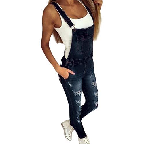 Jeans Pantalon Träger Jeans Für Frauen Basic Classic Dunkelblaue Weibliche Jeanshose Ripped Hole Stretch Strampler Jumpsuit Jeans Overalls L Blau