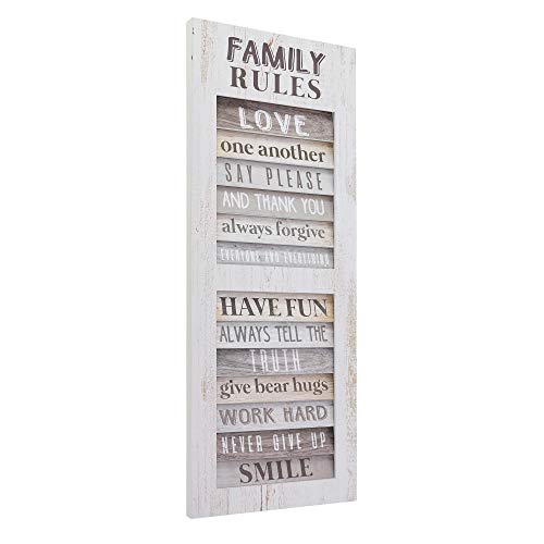 American Art Decor Family Rules Inspirational Shutter Window Plaque Farmhouse Wall Decor