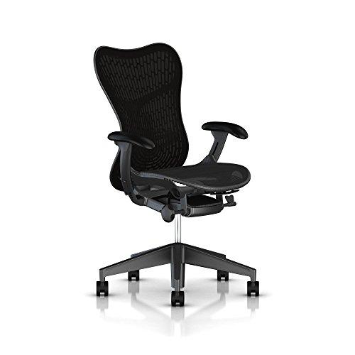 Herman Miller Mirra 2 Task Chair: Standard Tilt - Fixed Seat Depth - Non-Adj Back Support - Butterfly Back - Fixed Arms - Graphite Base & Frame