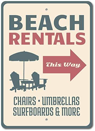 SIBIAN Beach Rentals alquiler silla de playa flecha retro metal letrero nostálgico decoración del garaje del coche decoración del hogar cocina bar colgante 30 x 20 cm