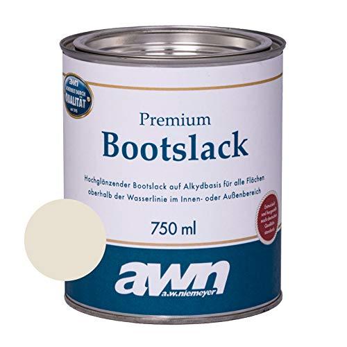 AWN 1K Bootslack Eine Komponente Lack für Boot Rumpf UV Schutz Ergiebigkeit ca. 12 m²/l (Creme RAL 9001)