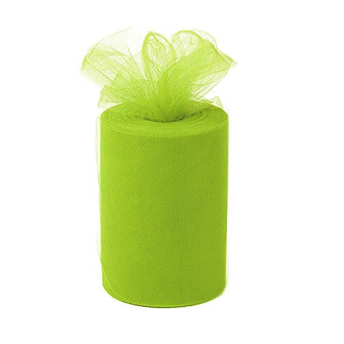 ANMINY 6 Inches x 100 Yards (300ft) Tulle Roll Spool Fabric Tutu for DIY Skirts Wedding Gift Wrap Sewing Crafting Bow Bridal Decorations Birthday Party - Light Green