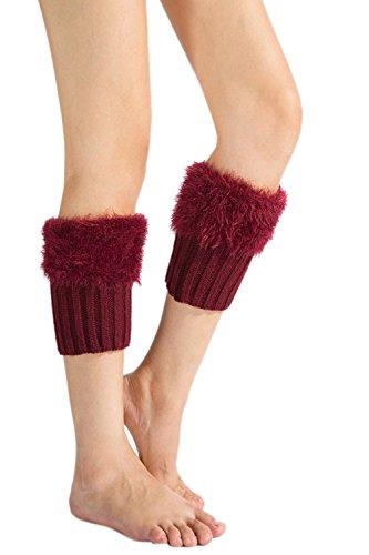 Las Mujeres Botas De Tejido A Crochet Invierno Suave Peludo Puños Acolchados Corta La Pierna Mas Caliente Winered One Size