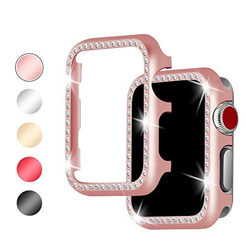 Myada für Apple Watch Hülle 42mm Rose Gold,Schutzhülle iWatch Series 3 Series 2 Series 1 42mm Case Full Cover Rundherum Schutz Diamant Glitzer Strass Damen Fashion Schutzhülle für Apple Watch 42mm