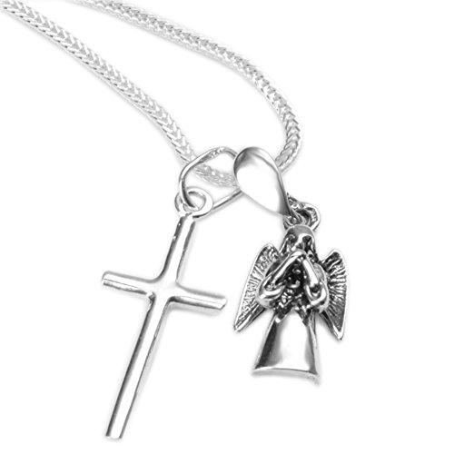 Dreiteiliges Geschenk-Silber Set Schutzengel + Silberkreuz Anhänger Silberkreuz inkl.Silberkette#754