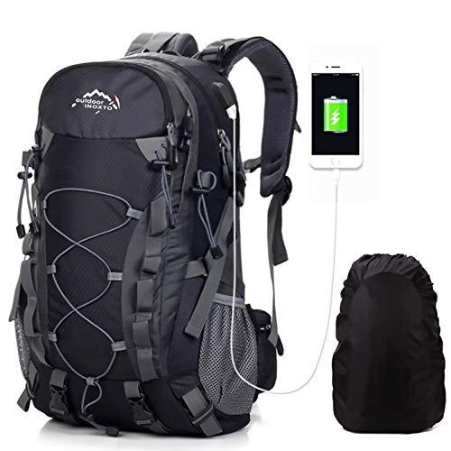 Meisohua All' Aperto Alpinismo Zaino Zaino Per Uomini E Donne Campeggio Escursione Impermeabile Bag Per Viaggiare Trekking Con Parapioggia, Uomo, Nero