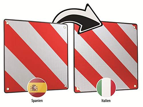 LAS Warntafel Warnschild 2 in1 für Spanien und Italien 50x50 cm Aluminium Verkehr
