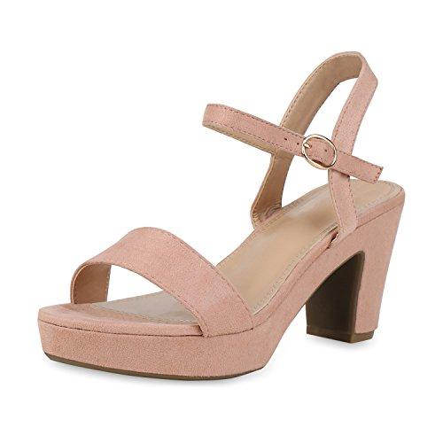 SCARPE VITA Damen Pumps Plateau Sandaletten Party High Heels Wildleder-Optik Schuhe Elegante Partyschuhe Absatzschuhe 158295 Rosa Velours 38
