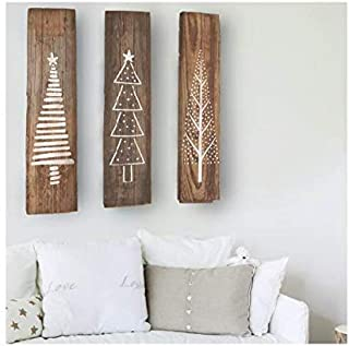 Set of 3 Nordic Pine Christmas Tree Stencils for DIY Wood Plaque Sign Decoration