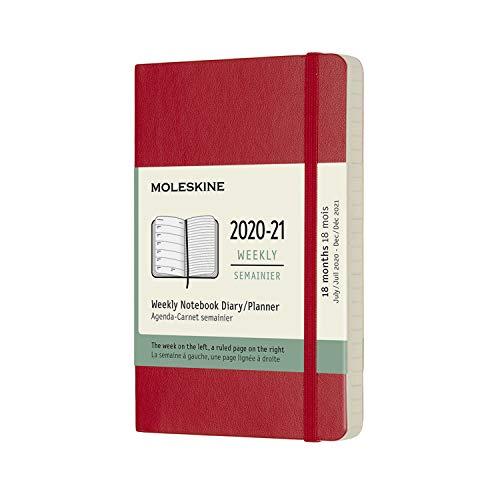 モレスキン 手帳 2020年7月始まり 18カ月 ウィークリーダイアリー ソフトカバー ポケットサイズ スカーレットレッド DSF218WN2Y21