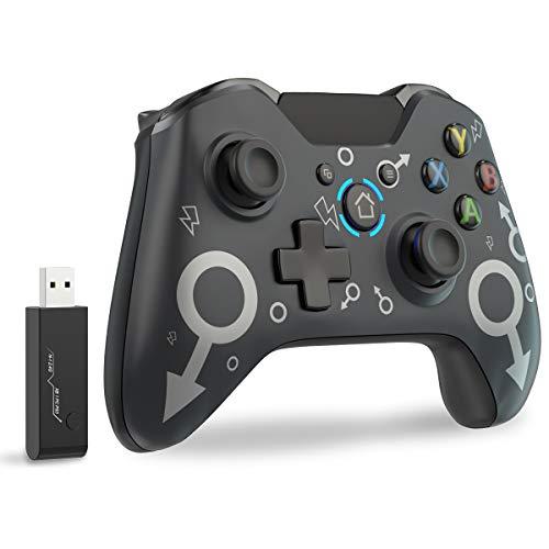 Wireless Controller für Xbox One/ PS3 / Elite/PC Windows 7/8/10,JORREP Wireless Gamepad mit 2,4 GHz Wireless Adapter Schwarz (Keine Kopfhörer Buchse)