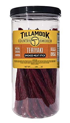 Tillamook Country Smoker Real Hardwood Smoked Teriyaki Sticks Resealable Jar, 20 Count