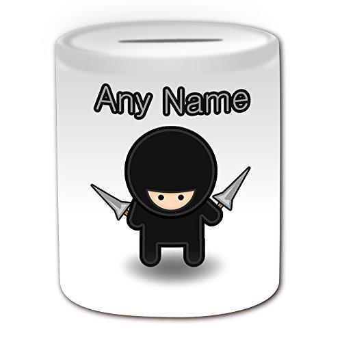 Personalisiertes Geschenk–Ninja mit Seil Dart Spardose (Märchen Design Thema, weiß)–alle Nachricht/Name auf Ihre einzigartige