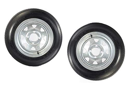 2-Pk Trailer Tire Rim 4.80-12 12 in. Load C 4 Lug Galvanized Spoke Wheel