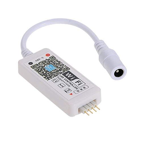 RGB Led Streifen Wifi Controller,Geeignet für Alexa/Google Home Sprachsteuerung,für 5050/3528 RGB LED-Streifenlichter mit 16 Millionen Farben 20 dynamische Modi Tonaktivierte statische Farbwechsel