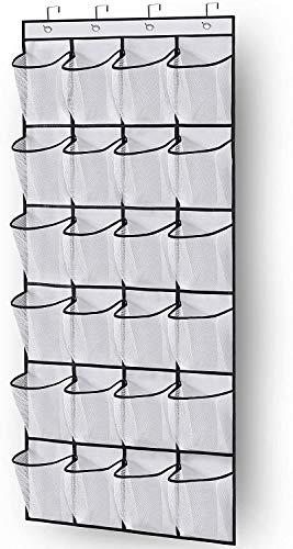 SHOLING Organizador de zapatos con 24 bolsillos de malla grandes, color blanco