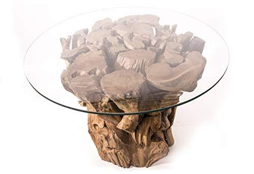 Windalf Natur Premium Couchtisch Robin 80 cm Rustikaler Hoher Wohnzimmertisch Gartentisch Wohnzimmertisch mit runder Glasplatte Wurzeltisch Handarbeit aus Teak