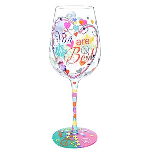 NymphFable Copa de Vino Pintada a Mano Eres el mejor Copa de Vino Tinto 15oz Regalo para Familia o Amigo