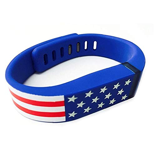 Reemplazo de Smart Band para el patrón de la Bandera Americana de Las Barras de Fitbit Estrellas EE.UU. Banda de Silicona Pulsera de la Venda para Hombres y Mujeres - Azul