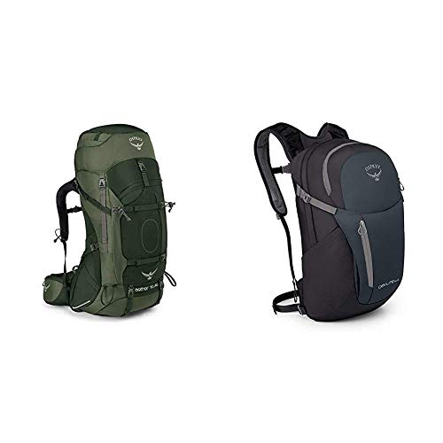 Osprey Aether AG 70 Men's Backpacking Pack - Adirondack Green (LG) & Daylite Plus Unisex Lifestyle Pack - grey/green (O/S)
