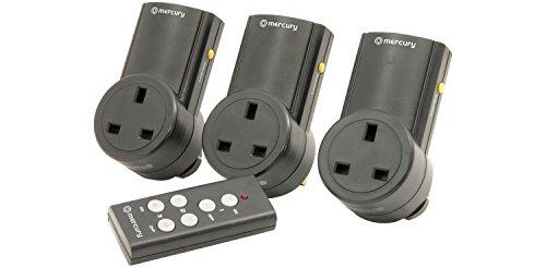 Mercury | Remote Control Mains Socket Adaptors | Set of 3,Black