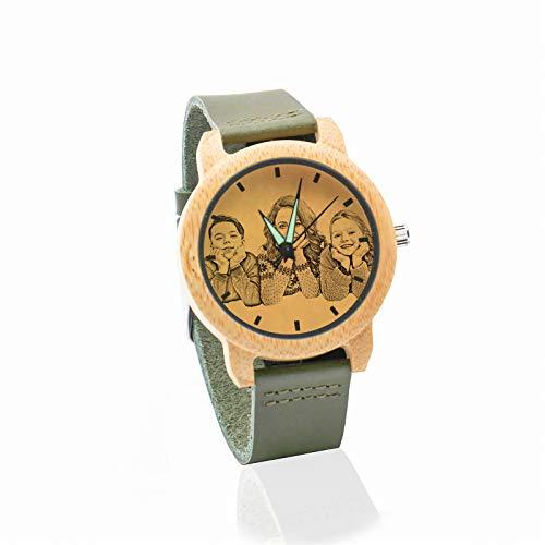 Reloj de Fotos Personalizado Reloj de Texto Personalizado Reloj de Cuero Verde Reloj de Madera de bambú Navidad para Hombres(Verde Hombres-45mm)