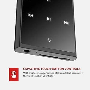 Victure Bluetooth MP3 Player 16GB Touch-Taste Digital Musik Player mit Kabelgebundene Kopfhörer, Eingebautem Lautsprecher, FM-Radio, Schrittzähler, 1,8 Zoll TFT-Bildschirm, Unterstützt bis 128 GB
