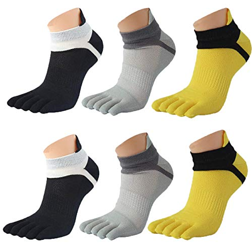Saisiyiky Los hombres de malla Meias Deportes Correr Calcetines del dedo del pie (3 Par Mezcla de color)