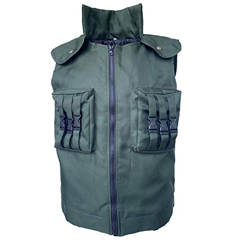 Xfang Men's Cosplay Costume High Density Cotton Vest (M) Green