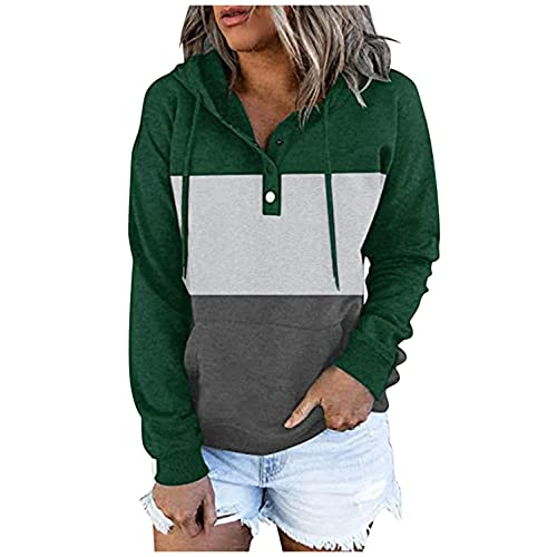 Hoodies for Women Pullover, Womens Casual Button Hooded Sweatshirts Colorblock Long Sleeve Hoodie Pullover Sweatshirt Green