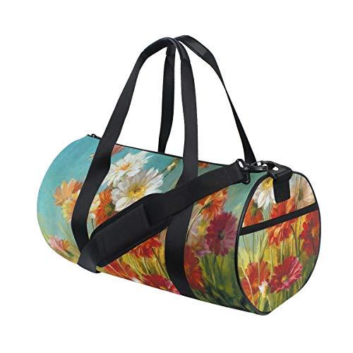 HARXISE Margarita Flor Retro Floración Brotes Pintura Al óleo Romance,Bolsa de equipaje de viaje Deporte Lienzo ligero Equipaje de fitness Bolso de tambor Desmontable