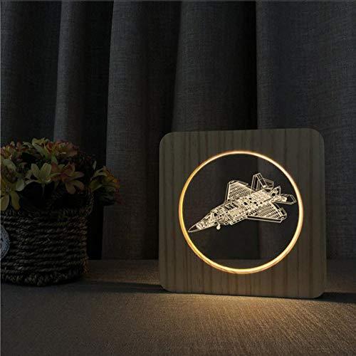 Layyqx muziekgitaar, saxphone, koptelefoon, vliegtuigtank, voetballamp, usb 3D led-nachtlampje, hout, warm licht, party cadeau