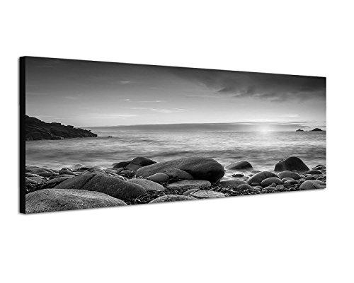 Augenblicke Wandbilder Keilrahmenbild Panoramabild SCHWARZ/Weiss 150x50cm Cornwall Meer Steine Sonnenuntergang
