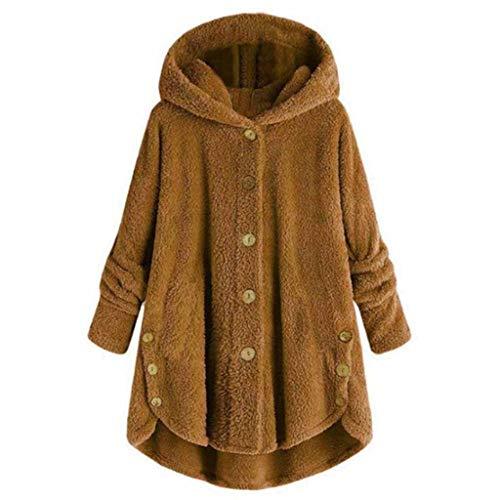 Vrouwen hoodies vrouwen mantel jas knoop Solid Color met capuchon outwear losse fluffy outwear winter fleece mantel gebreide jas