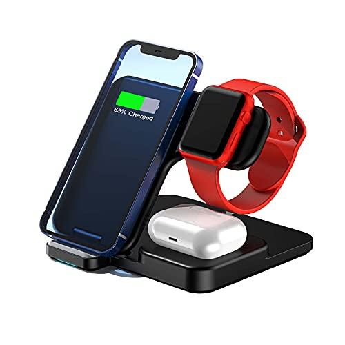 GQFDBS 3-in-1 Wireless Charger Induktive Ladestation Kabelloser Ladegerät mit Adapter, Kompatibel für iPhone 13/13 mini/13 Pro/13 Pro Max, iWatch 7/6/5/4/3/2/1, für Air Pods/Pro (Schwarz)
