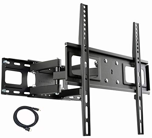 VideoSecu MW340B2 TV Wall Mount Bracket for Most 27-65 Inch LED, LCD, OLED and Plasma Flat Screen TV, with Full Motion Tilt Swivel Articulating Dual Arms 14' Extend, up to VESA 400x400mm,100 LBS WR9