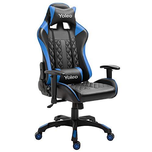 YOLEO Gaming Stuhl, bequemer Gaming Sessel 150 kg Belastbarkeit, Kunstleder PC Stuhl drehbar höhenverstellbar Gaming Chair mit Kopfstütze (Blau-Pro)