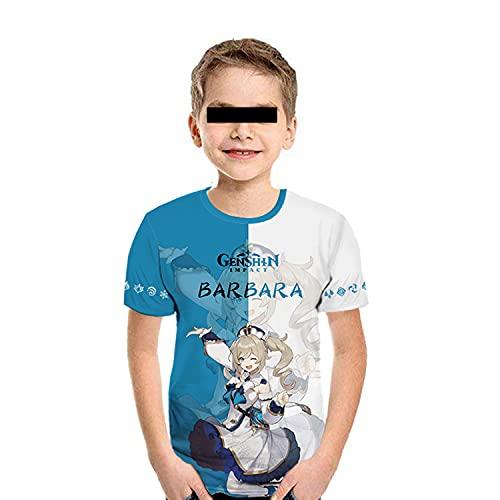 DFGER Cosplay Kinder T-Shirt,Genshin Impact Barbara Sommer Harajuku Kurzarm Niedlichen Bluse Shirts Cartoons Halbarm