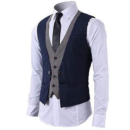 STTLZMC Gilet Uomo Slim Fit Elegante Casual Smanicato Scollo a V Panciotto Matrimonio Corpetto 2in1 Blazer(Niente Camicia),Blu,Medium